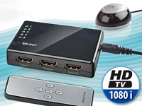 auvisio 5-fach HDMI-Umschalter (Switch), Full HD, mit Fernbedienung, HDMI 1.3 auvisio HDMI-Switches