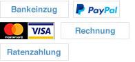 Bankeinzug, mastercard, paypal, visa
