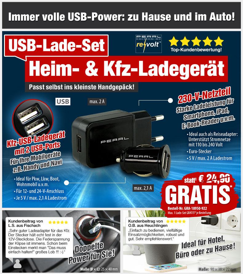 HotPriceMail - GRATIS statt 24,90 EUR: USB-Ladeset mit 230-V ...