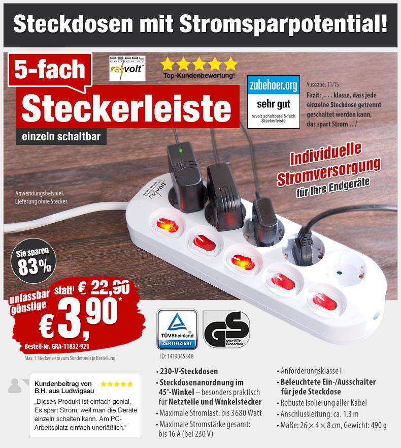 HotPriceMail - Nur 3,90 EUR statt 22,90 EUR: 5-fach Steckdosenleiste ...