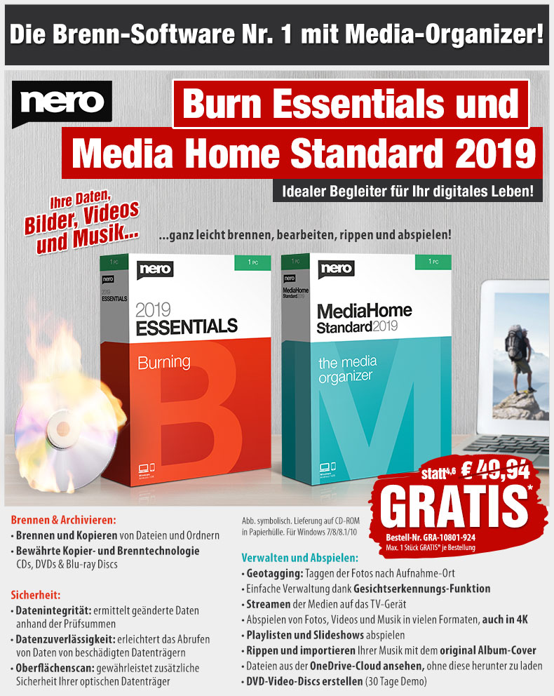 HotPriceMail - GRATIS statt 49,94 EUR: Nero 2019 Burn Essentials & Media Home Standard