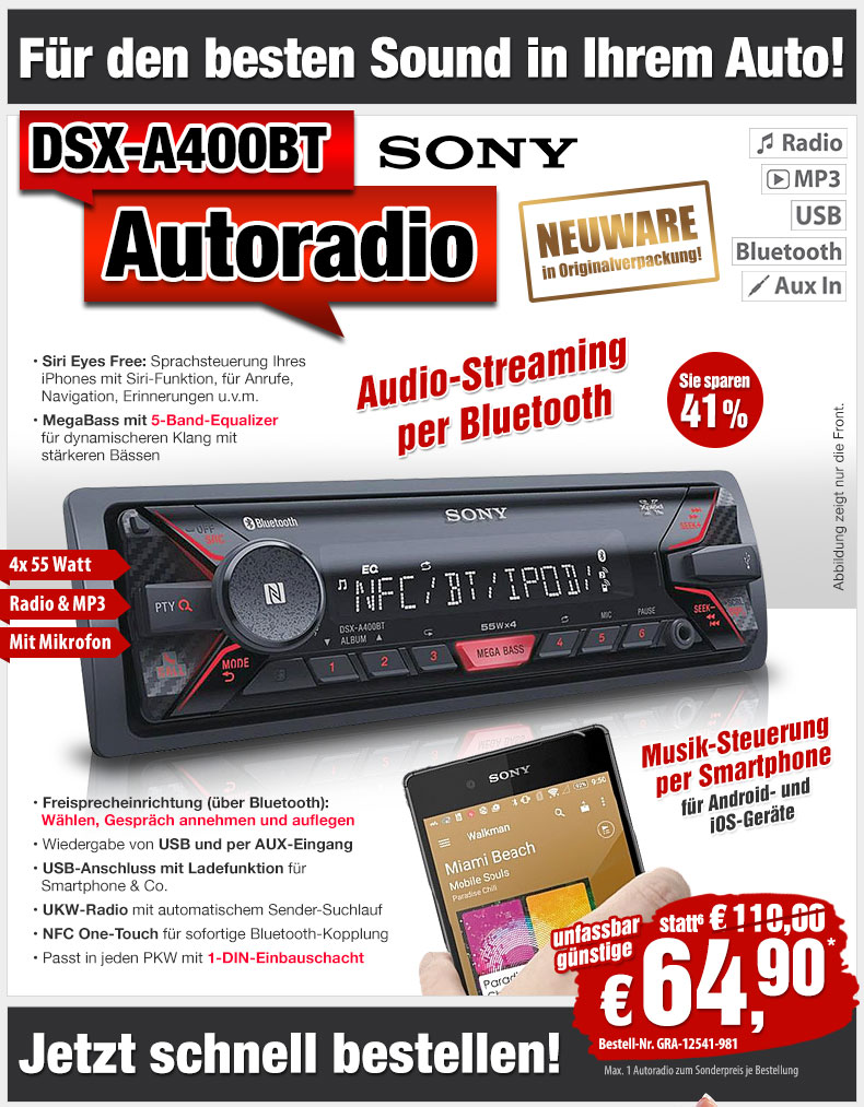 41 sony mp3 autoradio dsx a400bt mit bluetooth und usb. Black Bedroom Furniture Sets. Home Design Ideas