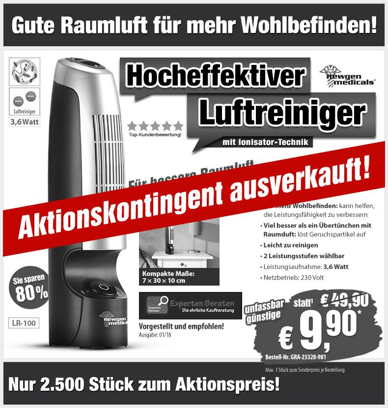 -80%! Luftreiniger mit Ionisator für Räume mit bis zu 100qm - nur 9,90 statt 49,90 EUR