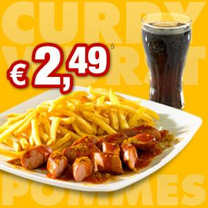 Currywurst und Pommes 1 Eur