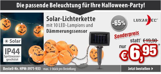 GRATIS statt 19,90 EUR: LED-Lichterkette mit 10 Lampions im Halloween-Kürbis-Look