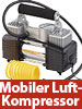 Lescars Mobiler Luft-Kompressor, Manometer, 12 V, 150 psi, 288 Watt, 3 Adapter Lescars