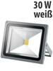 Luminea Wetterfester LED-Fluter im Metallgeh�use, 30 W, IP65, wei� Luminea Wasserfeste LED-Fluter