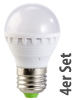 PEARL LED-Lampe, 3W, E27, warmwei�, 3000K, 4er-Set Luminea LED Leuchtmittel E27 (warmwei�)