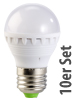 PEARL LED-Lampe, 3W, E27, warmwei�, 3000K, 10er-Set Luminea