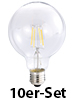 Luminea LED-Filament-Globelampe, G95, E27,6W,600lm,270°,3000K,10er-Set Luminea LED-Filament-Globen E27 (warmweiß)