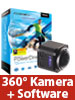 Somikon 360°-4K-ActionCam, 16-MP-Sensor, Fernbed. & PowerDirector 15 Ultra Somikon 360°-Action-Cams mit 4K UHD