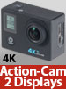 Somikon Einsteiger-4K-Action-Cam mit 2 Displays, Full HD bei 60 B./Sek., IP68 Somikon Action-Cams 4K