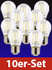 Luminea LED-Filament-Tropfen, G45, E27, 470 lm, 4 W, 360°, 6.500 K, 10er-Set Luminea