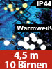 Lunartec Party-LED-Lichterkette m. 10 LED-Birnen, 3 Watt, IP44, warmweiß, 4,5 m Lunartec Party-LED-Lichterketten in Glühbirnenformn für innen und außen