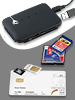 c-enter Multi-Card-Reader SIM/ SMART/ mit aktivem 3-fach-USB-Hub