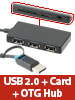 Xystec 3in1-USB-2.0-Hub mit Cardreader & OTG-Funktion f�r Smartphone & Tablet Xystec USB-2.0-Hubs mit Card-Reader