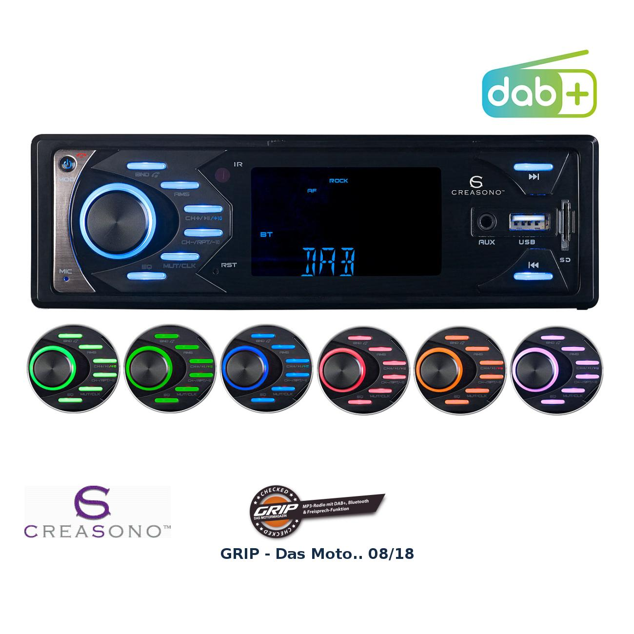 Autoradio MP3 / DAB+ avec fonctions bluetooth et mains libres, 4 x ...