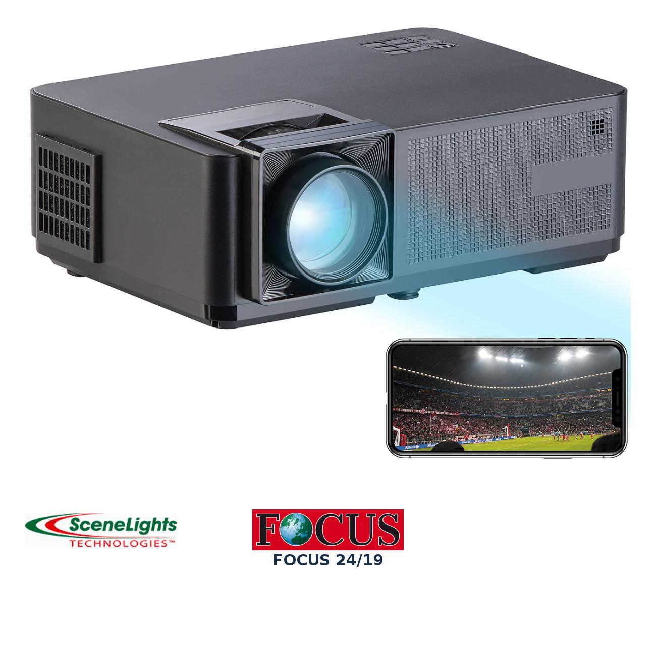 LED-LCD-Beamer mit WLAN, Media-Player, 1280x800 Pixel (WXGA), 3.000 lm